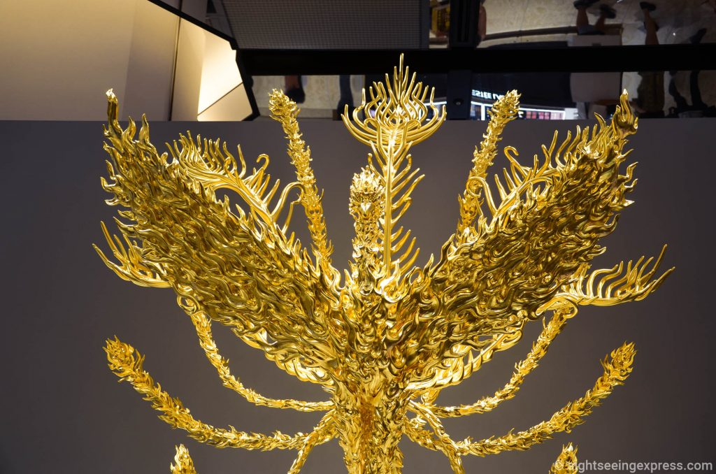 The gold phoenix with open wide wings at Daimaru Main Building