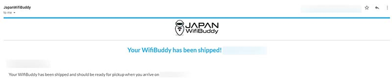 Part of the email sent by JapanWifiBuddy