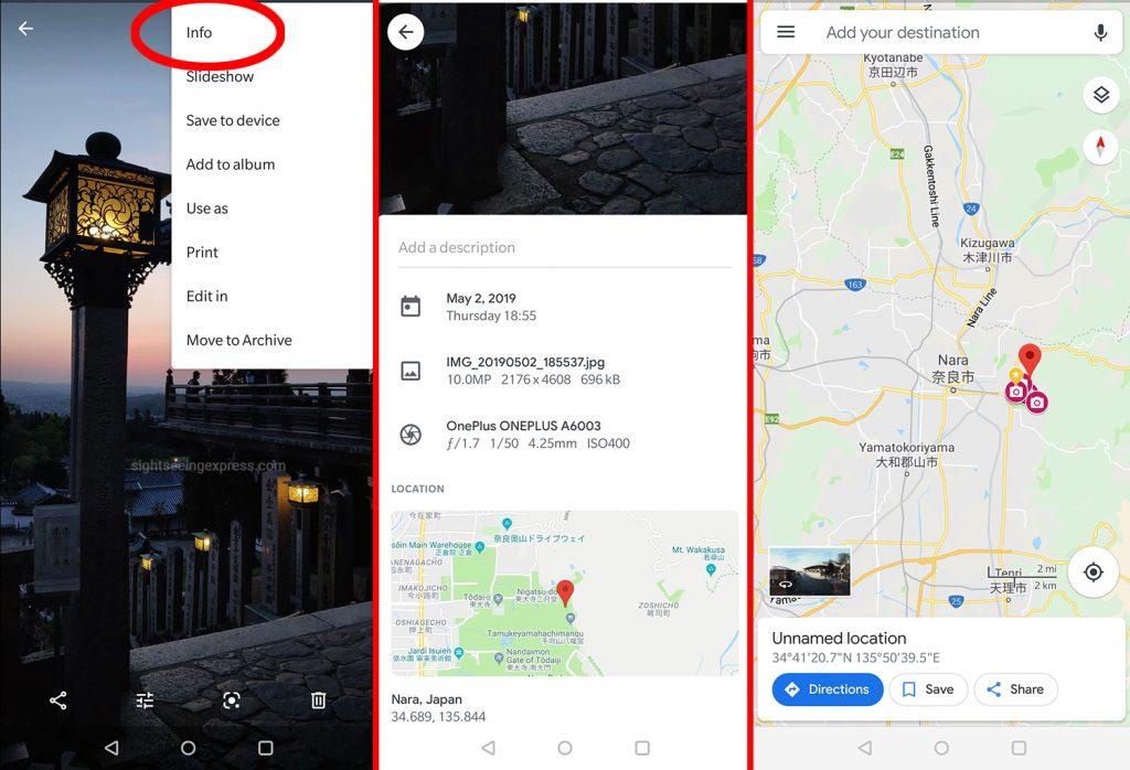 GPS info in Google Photos