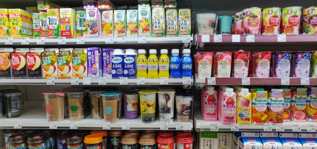 Sweat cold drinks at Lawson convenience store