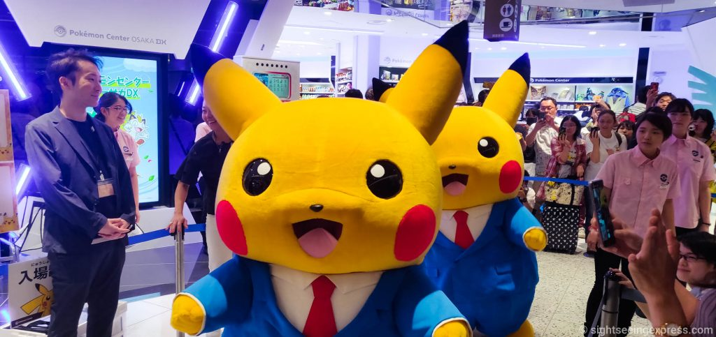 Two huge Pikachu dolls welcoming the visitors