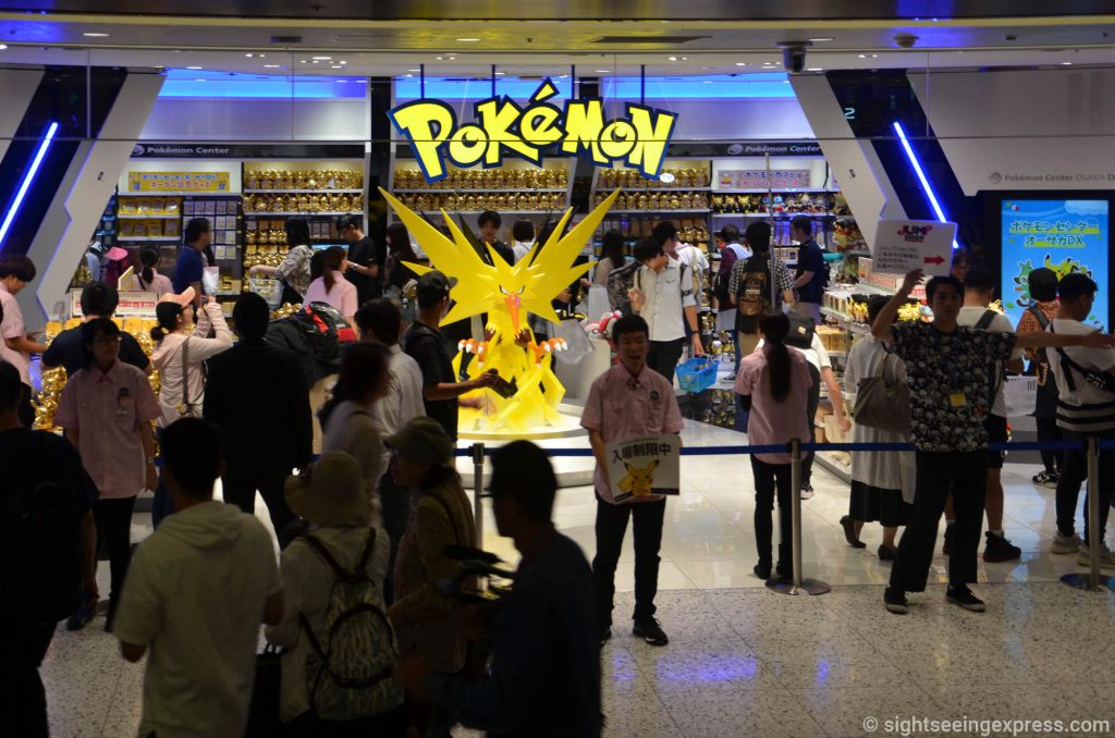 Many people waiting in line to get to the Pokemon store in Daimaru