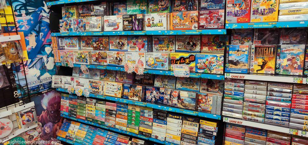 Plenty of retro games in their original packages. Japan release versions